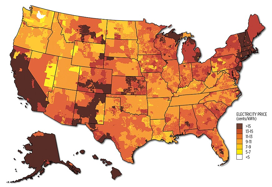 Annual average electricity rates by utility service territory. The map combines data provided by ABB Energy Velocity Suite and state averages reported by EIA. - BILLY J. ROBERTS/DEPARTMENT OF ENERGY ILLUSTRATION