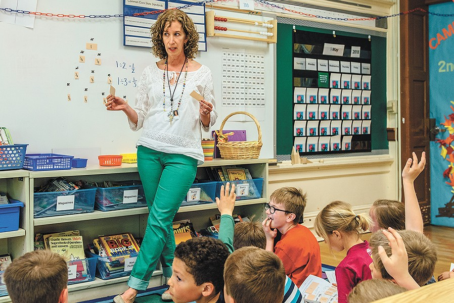 """""""I think we're opening math up, I think we're taking the lid off,"""" says second-grade teacher Ellen Nessen. - ERICK DOXEY PHOTO"""