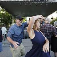 Saturday Evening At Elkfest Billy Schaich, left, and Sheila Shdo dance while Folkinception. Young Kwak