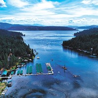 "Drone photography of the Inland Northwest Rockford Bay on Lake Coeur d'Alene. ""It is a trip we make almost every summer since I was about 6 years old,"" Brian Montgomery says. ""This lake is very special to us and holds so many memories."" Myk Crawford photo"