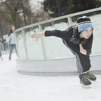 Saturday at the Riverfront Park Ice Ribbon on the Opening Weekend 10 year old Tristan James Bennett skates. Young Kwak
