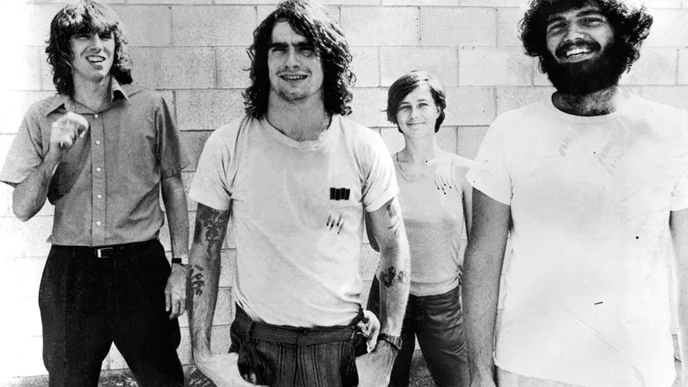 Henry Rollins (second from left) during his hairier Black Flag days.