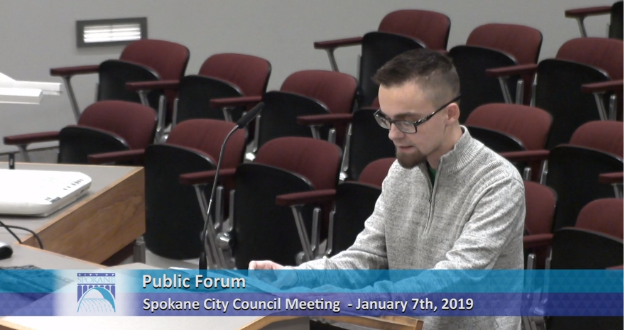 """Anti-abortion activist Jake Eakin calls for the city council to make Spokane a """"Sanctuary City"""" for the unborn, by defying the Supreme Court to ban abortion within the city limits. - CITYCABLE5 SCREEN SHOT"""