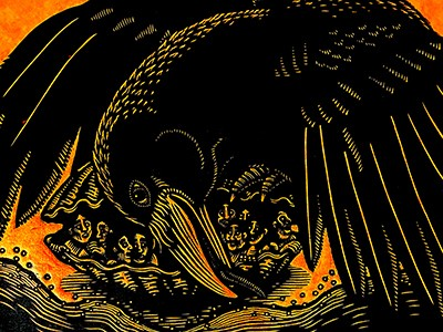 """Kill Choi, """"The Raven and the First Men"""" relief print"""