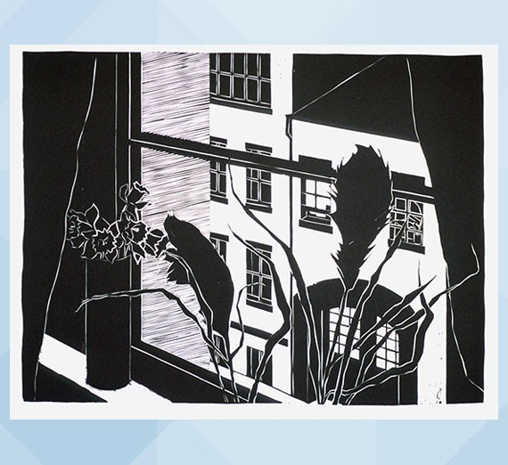 Emily Trueblood (American, b. 1942) Barrow Street, 1975 Linoleum cut on paper Jundt Art Museum, Gonzaga University; University purchase 1975.1