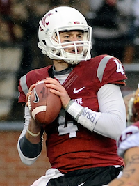 Redshirt sophomore quarterback Luke Falk looks downfield for an open receiver. - WASHINGTONSTATE.RIVALS.COM