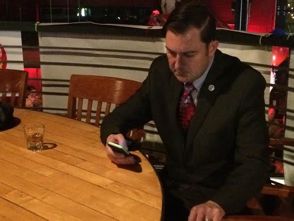 Spokane Council President Ben Stuckart watching the results come in on Election Night. - JAKE THOMAS