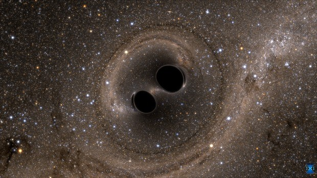 A computer simulation of what the merging of two black holes might look like. - LIGO