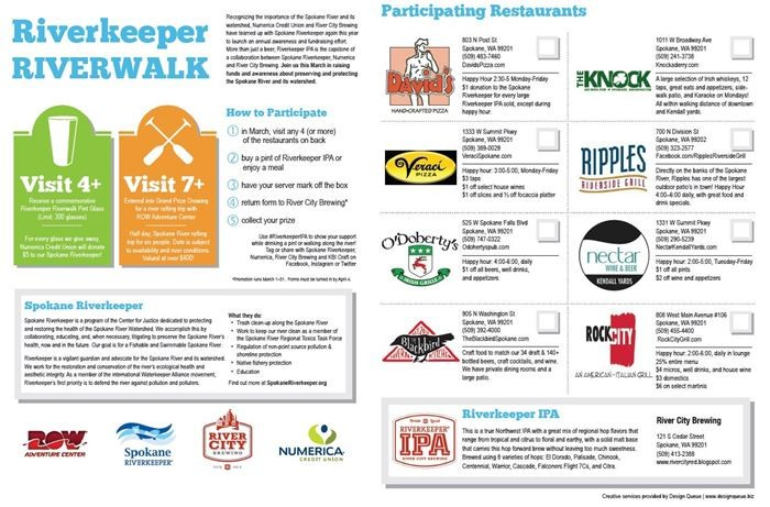 Pick up a version of this Riverkeeper Riverwalk checklist in the current Inlander or at the listed restaurants.