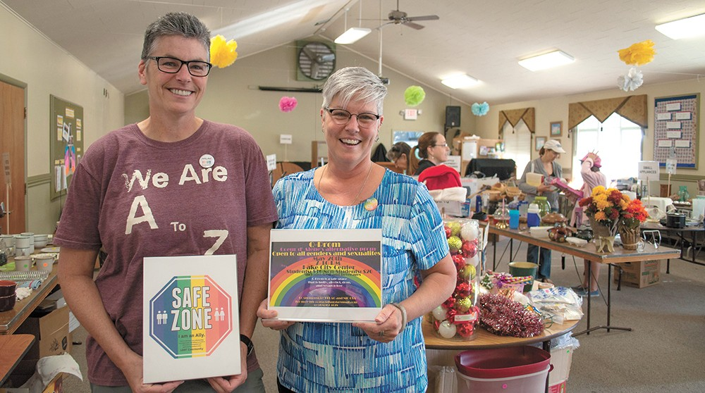 Juli Stratton (left), the founding president of the Coeur d'Alene chapter of Parents, Friends & Family of Lesbians and Gays, serves as an education and outreach coordinator. Maureen Finigan (right) serves as the group's current president. - SARAH PHILP