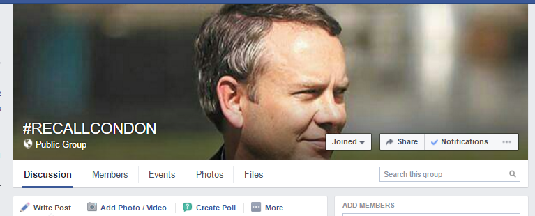 One of the three Facebook pages focused on recalling Condon