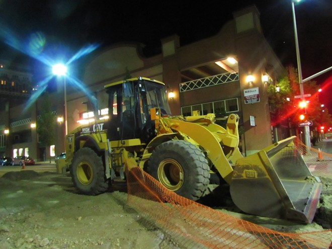 Don't expect bulldozers like this one downtown to go away anytime soon - DANIEL WALTERS PHOTO