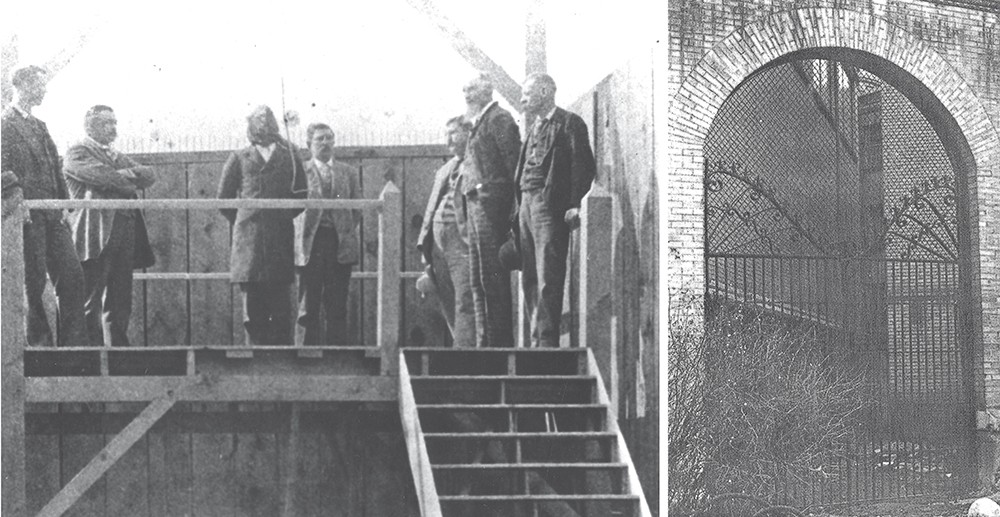 "(Left) Charles Brooks, Spokane County's first official hanging victim, moments before his death; (right) the ""gallows gates"" as they stood until they were torn down in 1970. - COURTESY OF SPOKANE LAW ENFORCEMENT MUSEUM"