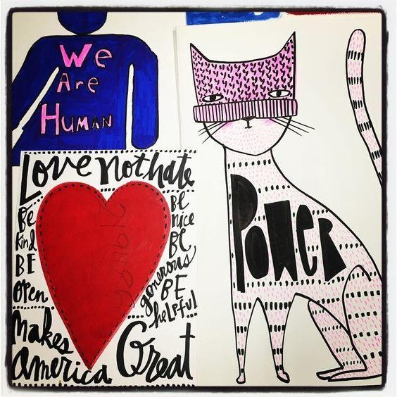 Dantini's T-shirt design came from this art she made for a Women's March sign.