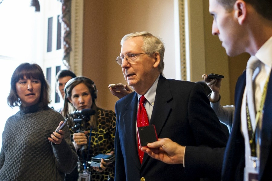 Senate Majority Leader Mitch McConnell (R-Ky.) speaks with reporters on Capitol Hill in Washington, Dec. 1, 2017. Republican leaders said on Friday that they have enough votes to pass the Republican tax bill along party lines after last-minute changes brought wavering senators on board. - JUSTIN GILLILAND/THE NEW YORK TIMES