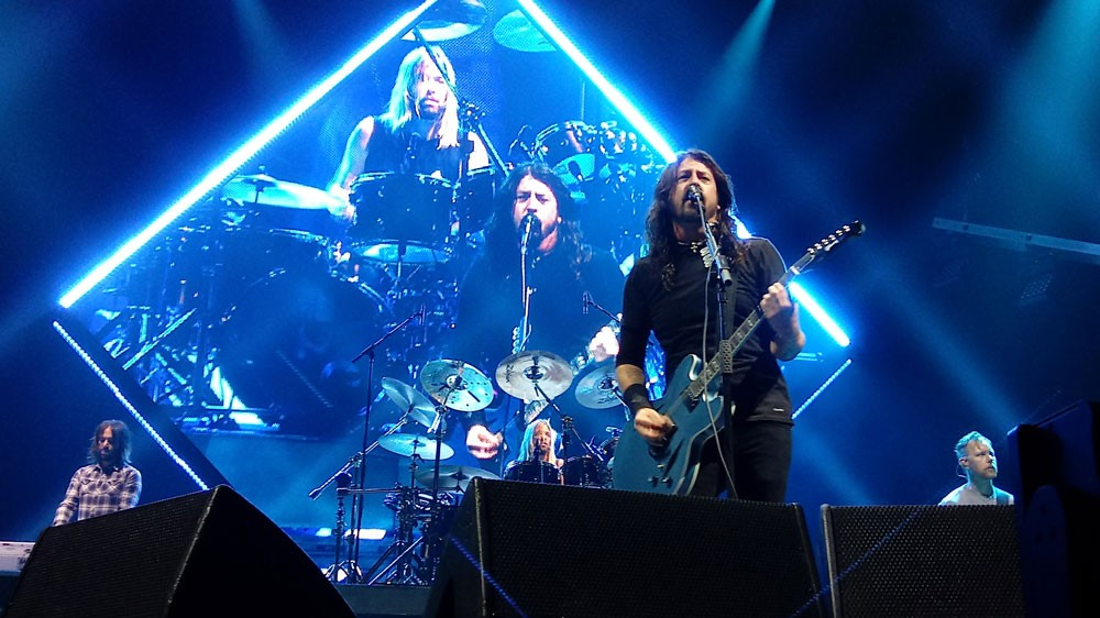 Four out of six Foo Fighters (left to right): Rami Jaffee, Taylor Hawkins, Dave Grohl and Nate Mendel. - DAN NAILEN