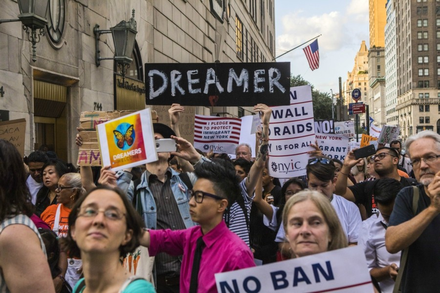 People protest the Trump administration's plans to cancel the Deferred Action for Childhood Arrivals march on Trump Tower in Manhattan, Aug. 30, 2017. The U.S. Supreme Court on Feb. 26, 2018, rejected an unusual request from the Trump administration to decide whether it was entitled to shut down a program that shields some 700,000 young, undocumented immigrants from deportation. - HIROKO MASUIKE/THE NEW YORK TIMES