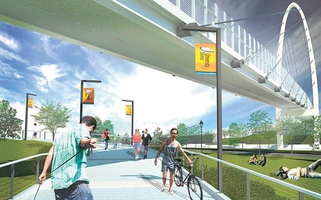 Imagine all the slightly-translucent pedestrians the University Gateway Bridge will attract! - CITY OF SPOKANE RENDERING
