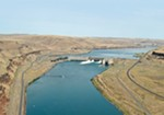 The Lower Monumental Dam on the Snake River, near Kahlotus, Washington.