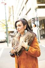 Creative Native designer Angelena Campobasso wears all her own handmade jewelry in this shot.