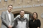 Jerad Kynaston (center) with his defense attorneys Jeff Dahlberg left and Alison Guernsey