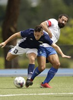 FCM Portland defender Cameron La Fleur. right, fouls Spokane Shadow forward Drew Williams (13), which leads to a penalty kick, during the first half.
