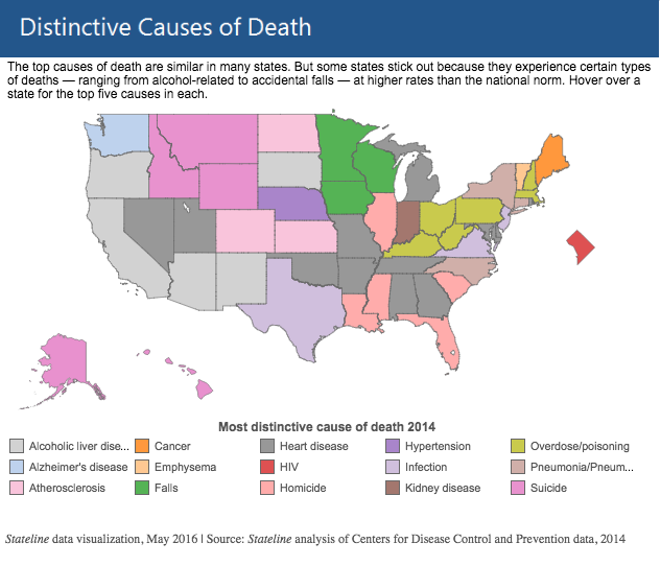 Washington States Top Cause Of Death Compared To The Rest Of The - Pneumonia map us 201