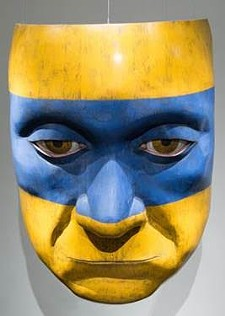 "MICHAEL DE FOREST - The Mask, 72"" x 53""; sugar pine and milk paint"