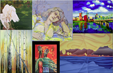 A sampling of the artwork displayed for Create Spokane Arts Month at the Liberty Building.