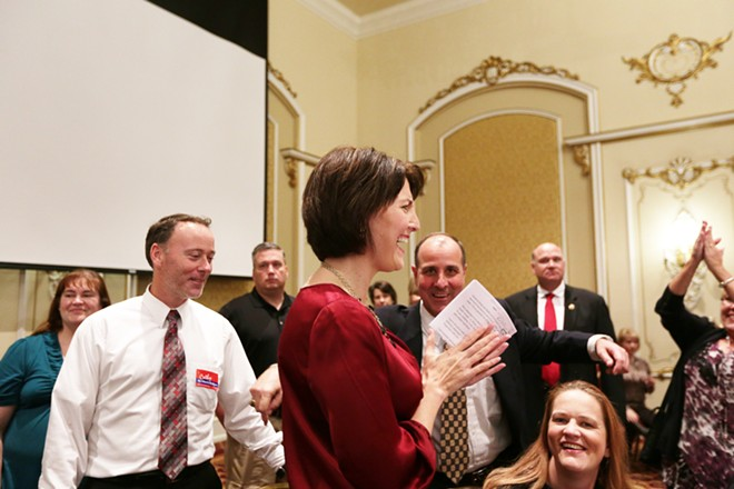 U.S. Rep. Cathy McMorris Rodgers (R) greets supporters. - YOUNG KWAK