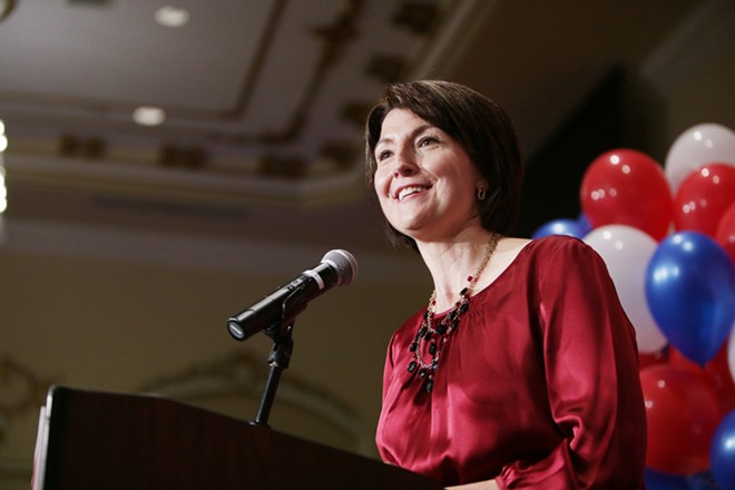 U.S. Rep. Cathy McMorris Rodgers (R) speaks. - YOUNG KWAK