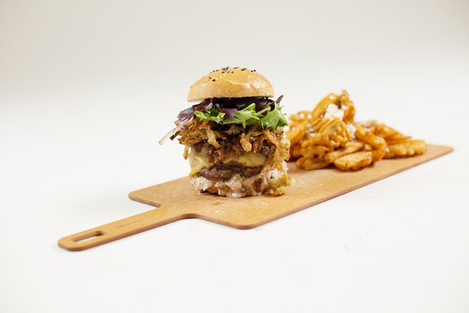 Venison burger from the Rusty Moose Bar and Grill. - YOUNG KWAK