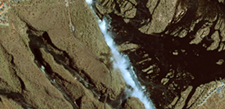 Victoria Falls, Zambia and Zimbabwe, as seen from space.