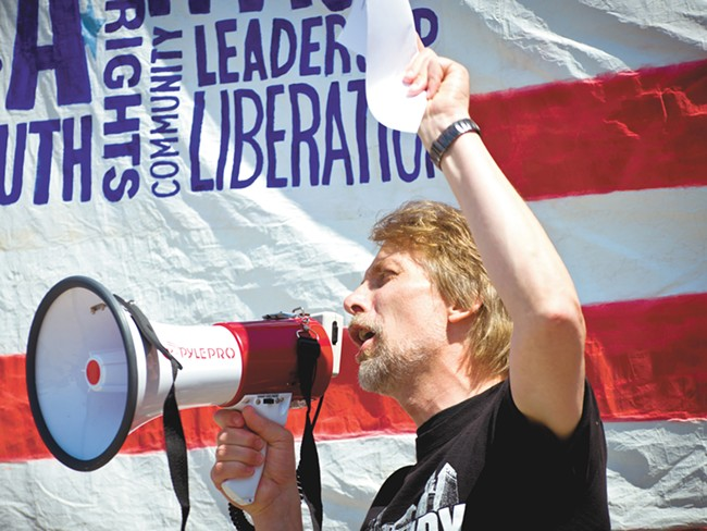Wayne Spitzer, at an Occupy rally last weekend, is making a run for the state Legislature. - COLIN BISHOP