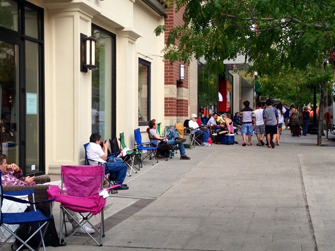 The scene outside the Apple store downtown around 4:30 pm today. - HEIDI GROOVER