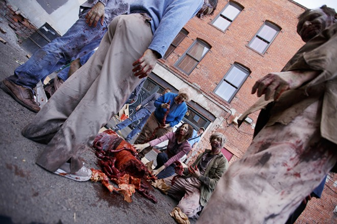 Zombie extras prepare for a scene. - YOUNG KWAK