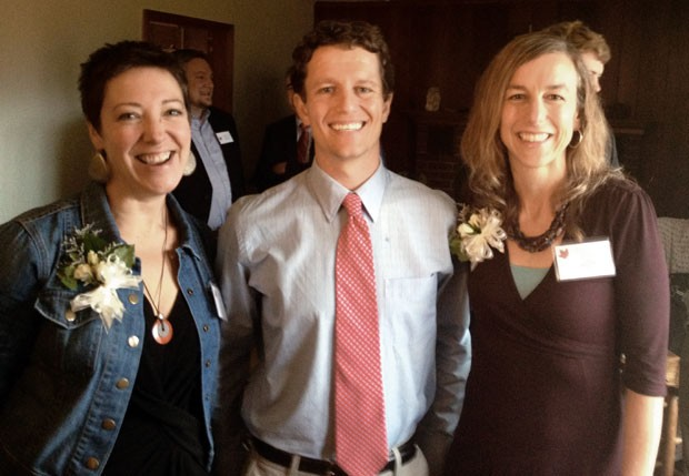 2014 Vermont Teacher of the Year Luke Foley with finalist Valerie Gasco, left, and alternate Katy Farber, right