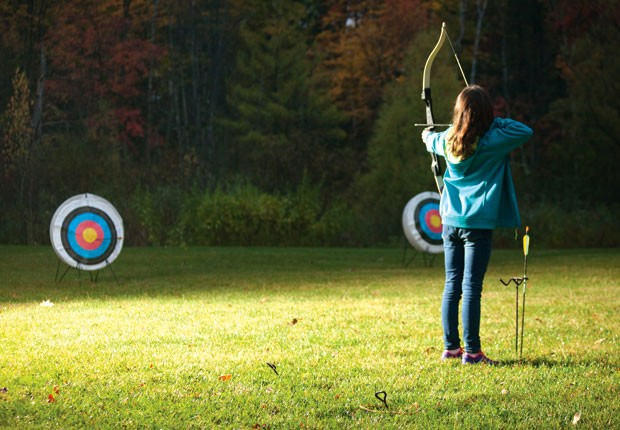 A student takes aim at South Burlington's Family Archery program