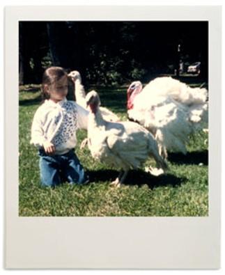 Alice Levitt with the turkeys her family kept as pets.