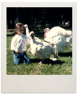 Alice Levitt with the turkeys her family kept as pets.