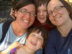 Ann-Elise Johnson, Graham, Cathy and Ivy Resmer on their family camping trip