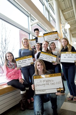Back: Tyler Martel; middle, from left: Bella Carter, Natalie Jackson, Danielle Perry, Kylie Bryce, Michaela Lombard; sitting: Amelia Parent; and front: Haley Thompson