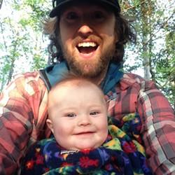 Elise and her dad, Tristan, enjoy an evening walk - SARAH GALBRAITH