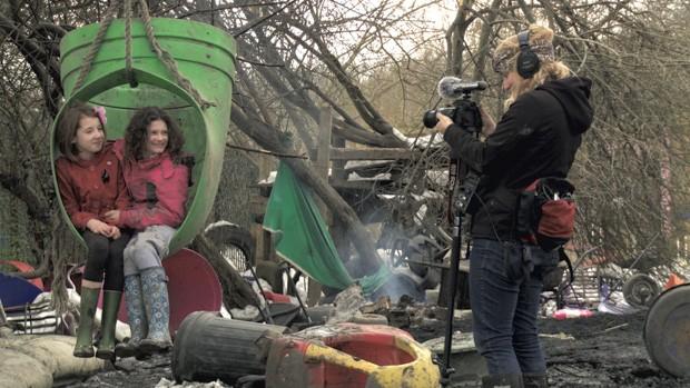 Erin Davis film kids playing at the Land