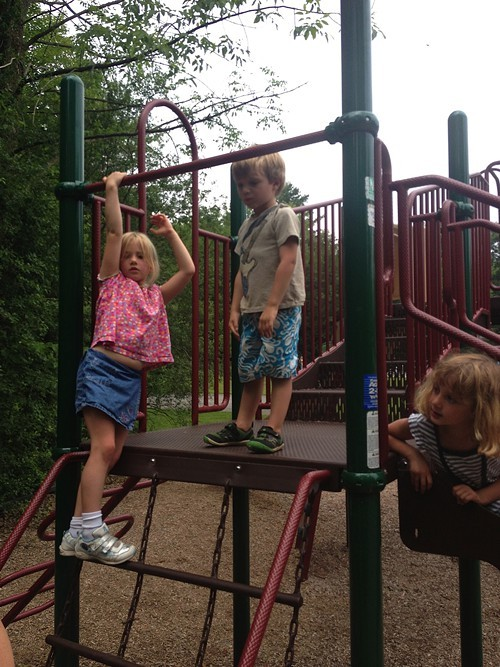 Exploring the playground at Button Bay State Park