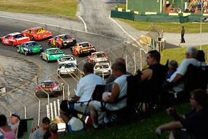 Fans watch a race at Thunder Road SpeedBowl