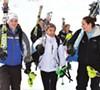 Green Mountain Valley students Kara Gailiunas, Sophia Meynard and Ali Nullmeyer head for the school bus after training at Sugarbush's Mt. Ellen