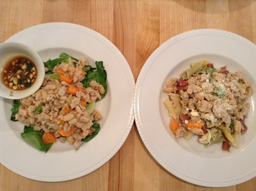 Ground Chicken & Bean Salad for adults, left; Ground Chicken & Bean Pasta for kids, right