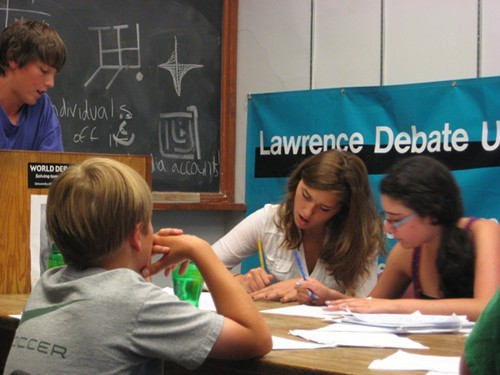 Students working on their arguments.