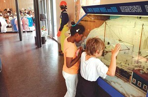 Kids learn about the quarry's history
